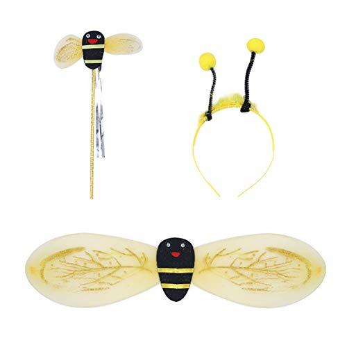 TENDYCOCO 6 stücke Kinder Bee Cosplay Kostüm mit Flügeln Stirnband Zauberstab für Party Leistung (Zufällige Seil Farbe)