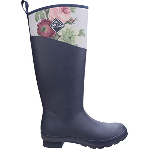 Muck Boots Tremont Matte Tall Womens Wellies UK 4 Navy Grey Roses -