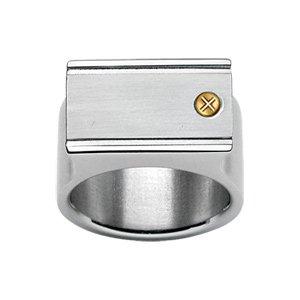 1001 Bijoux - Chevalière acier 1 vis or - tour de doigt 56