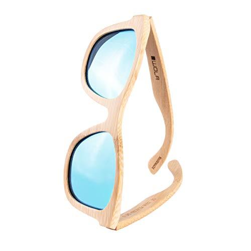 WOLA estilo cuadradas gafas de sol en bambú SURF mujer y hombre madera, sunglasses UV400 - polarisado azul