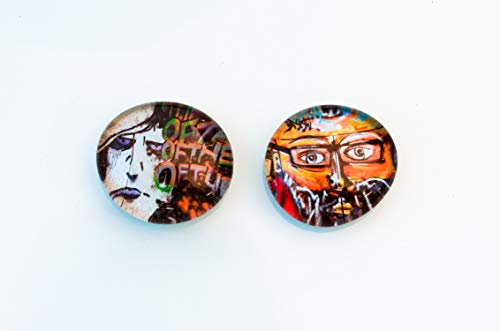 2er Set Graffiti Portrait Zombie Mann Comic Street Art Glas Magnet Kühlschrankmagnet gift for Kids