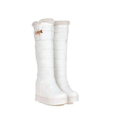 AgooLar Damen Blend-Materialien Rund Zehe Rein Mitte-Spitze Hoher Absatz Stiefel, Weiß, 34
