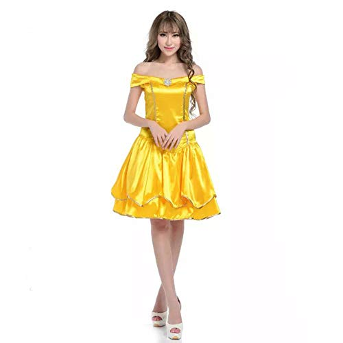 Women's Halloween Fancy Dress Cosplay Costume Adult Beauty and The Beast Princess Yellow