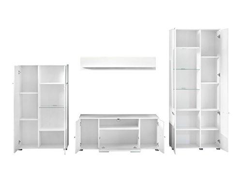 trendteam VIS97301 Wohnwand Kombination Weiß Hochglanz, BxHxT 321 x 193 x 45 cm - 2