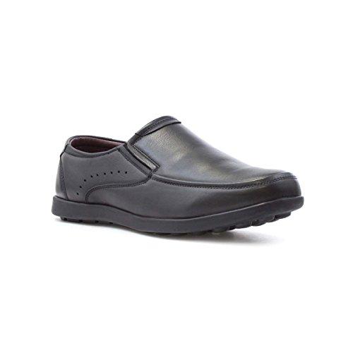 Dr Keller glissade en Cuir Noire Mens Sur la Chaussure de Confort Noir