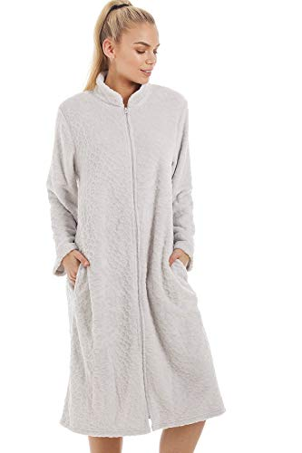 Robe de Chambre Femme Polaire Douce Fermeture Éclair à l'avant -Gris 42/44