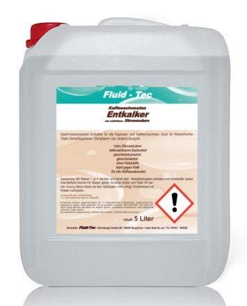 Fluid-Tec 5 Liter Flüssig Entkalker für Kaffeevollautomaten Kaffee-Maschine Kaffeepadmaschine Kalklöser Kalk-Reiniger Kalk-Entferner + Auslaufhahn