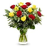 FLORESLOWCOST Ramo DE 12 Rosas Naturales EN Rojo Y Amarillo. AÑADE TU DEDICATORIA Personalizada. jarrón no Incluido.