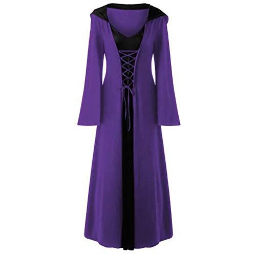 LILIHOT Frauen Plus Size Halloween Kleid Kapuze Lace Up Patchwork Langarm langes Kleid Retro Party Kleid Kleid Mit Kapuze Lose Lang Maxi Kleid Mittelalter Kostüm