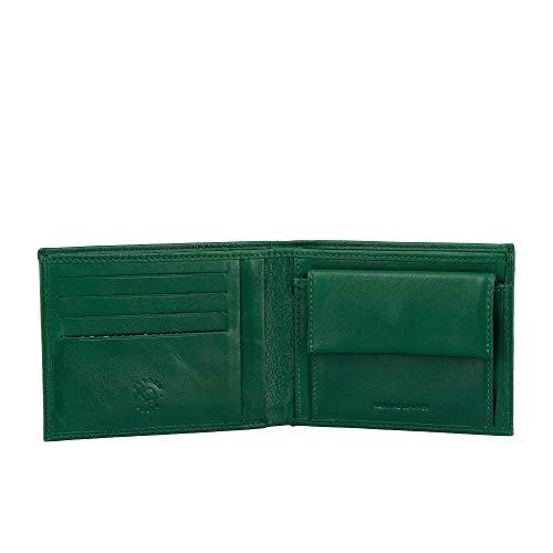 Nuvola Pelle Portefeuille Homme Fin en Cuir Nappa avec Porte-Monnaie et Fentes Porte-Cartes de crédit Vert