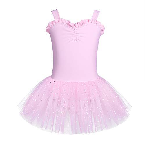 YAFEIYA Kinder Mädchen gekräuselte Schatz Ballett tanzklasse Dress Gymnastik Trikot Tutu Dress für jugendlich lyrische Tanz,Pink,L