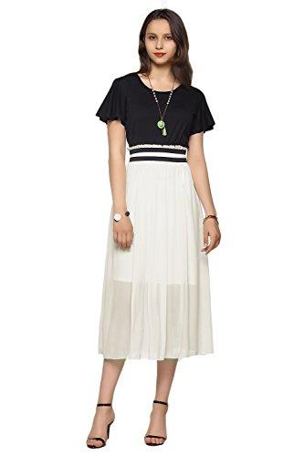 AMORETU Damen Schlichte Kleider Chiffon Casual Kurzarm Lange Sommerkleider Weiß Größe S