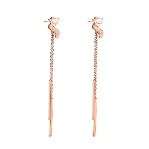 YHDD Kreative Ohrringe Titan Stahl matt roségold kleine Fuchs Quaste Ohrringe einfache Temperament Lange Ohrringe
