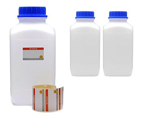 3x 4000 ml Weithals-Flaschen mit Schraubverschluß, Chemiekalienflaschen, Laborflaschen mit Deckel als Aufbewahrungsbehälter für Labor, Küche oder Hobby (Blauer Octopus-becher)