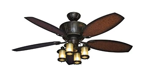 Centurion Outdoor Ceiling Fan in Oil Rubbed Bronze with 52 ABS Aged Mahogany Blade and Light (Indoor or Outdoor Use) by Gulf Coast Fans