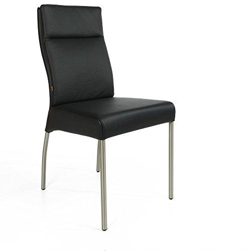 Weiches Italienisches Rindsleder (Lederstuhl Stuhl Gatto Rindsleder | Besucherstuhl Leder Stuhl Stühle Schwarz)