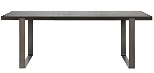 Table à manger en chêne coloris noir huilé - Dim : H 200 x L 90 x P 76 cm - PEGANE -