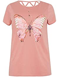 cd188dc82fe Yours Clothing Women s Plus Size Butterfly Sparkle T-Shirt with Lattice Back