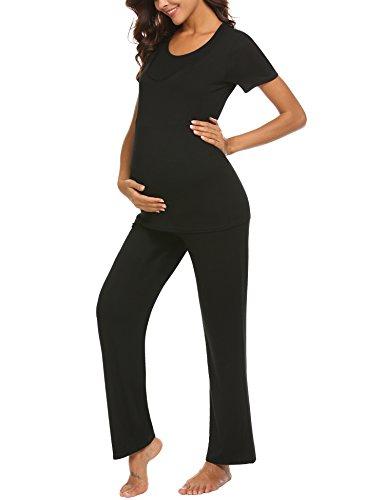 Unibelle pigiama due pezzi premaman donna pigiami allattamento scollo a u vestaglia ragazza manica lunga con pantaloni nero l