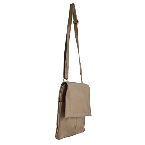 CTM Damen Schultertasche aus echtem weichem Leder Made in Italy - 25,5x24,5x1 Cm Schlamm