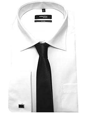 Seidensticker Umschlag Manschetten Hemd weiß incl. Krawatte und Manschetten Knopf SP 2080 Modern Fit 38 bis 46