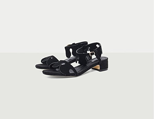 Xing Lin Ladies Sandals Summer New Section Of Hand-Painted Flowers With A Thick Leather Sandals black