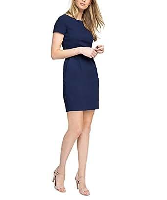 ESPRIT Damen Kleid mit Stretch, Knielang, Gr. 38, Blau (Navy 400)