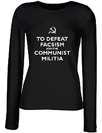 T-Shirt para Las Mujeres Manga Larga Negra TKC1503 to Defeat facsism Join  The Communist 06d2b622ed8