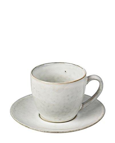 Kaffeetasse mit Unterteller NORDIC SAND Steingut von Broste Copenhagen