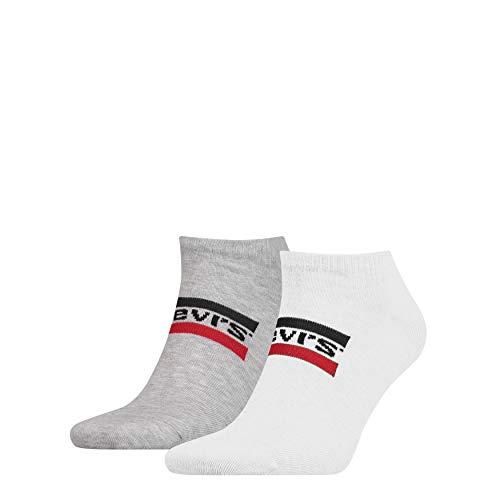 Levis Unisex Sneaker 168SF Low Cut Sport 2er Pack, Größe:43-46, Farbe:White/Grey (062) - Low Cut-2 Pack-socken