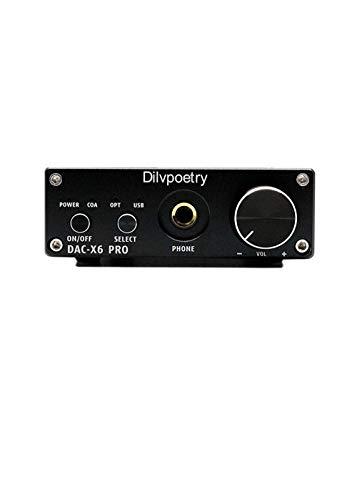 Amplifier Dilvpoetry DAC HiFi Headphone Amp CS4398 Decoder X6 Pro DAC  Coaxial/Optical/USB Stereo Audio Digital Analog Converter Portable (black)