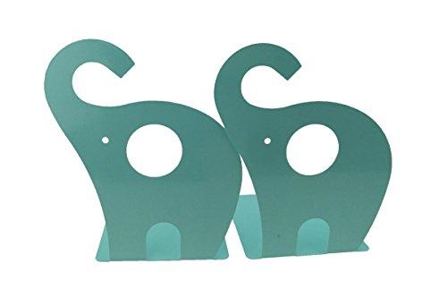 Niedlicher Elefant Buchstütze für Kinder, Metall Buchstütze, Buchstützen fürs Baby-Kinderzimmer, Kinderzimmer Dekor (Hellgrün)