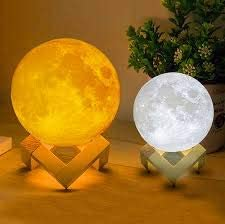 Knostic technologies Lunar Moon Lamp Wired 17 cm with Wooden Stand