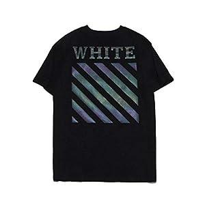 Bunte 3M Reflektierende Warnlinie Druck Kurzhülse Art und Weise Ow Paar T-Shirt Weste, Golden_flower, Weiß, XXL
