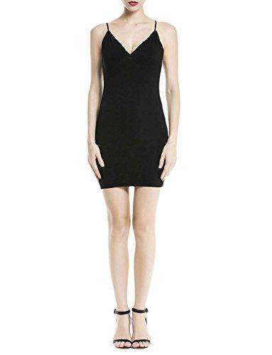 iB-iP Femme Bretelles De Spaghetti De Coton Sans Couture Underdresses Mini Robe