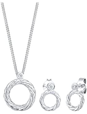 Diamore Damen Halskette plus Ohrringe Twisted Kreis 925 Sterling Silber Diamant weiß 0,06 ct Brillantschliff 0905961117_45