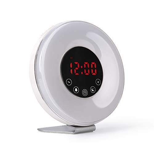 FM digital alarm clock radio with simulation of natural light of dawn and dusk | Alarm with relaxing sounds of nature and lighting in 7 colors with 10 brightness levels