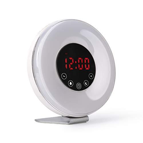 Radio reloj despertador digital FM con simulación de luz natural de amanecer y anochecer | Alarma con sonidos relajantes de la naturaleza e iluminación en 7 colores con 10 niveles de brillo