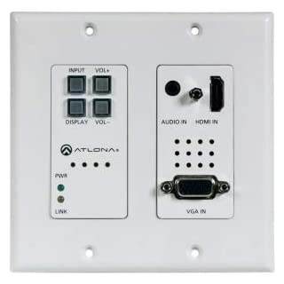 Atlona AT-HDVS-200-TX-WP HDMI (2 input) plus VGA Switcher, Control, and HDBaseT Output (100 m) Decora Wall Plate