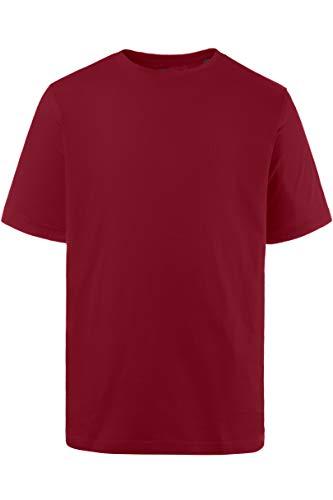 JP 1880 Herren große Größen bis 8XL, T-Shirt, JP1880-Motiv auf der Brust, Basic-Shirt, Rundhalsausschnitt, Reine Baumwolle, weinrot 5XL 702558 57-5XL