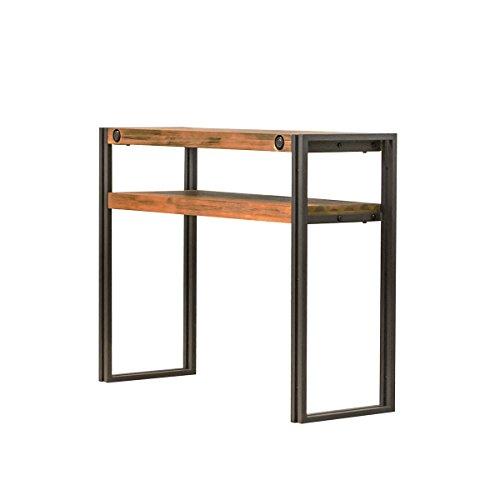 Consola auxiliar de estilo industrial de madera de acacia maciza cepillada y estructura de metal.–Colección Workshop.