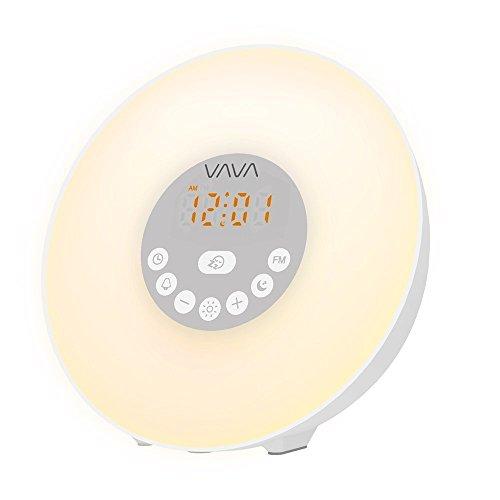 VAVA Lampe de Réveil Tactile avec 7 Couleurs LED Réglables, 10 Niveaux de Luminosité, 6 Sons d'Alarme Naturels et Radio FM, Horloge Alarme Avec Simulation du Lever de Soleil, Fonction Rappel Intelligent Radio Réveil Lumineux Lampe de Chevet