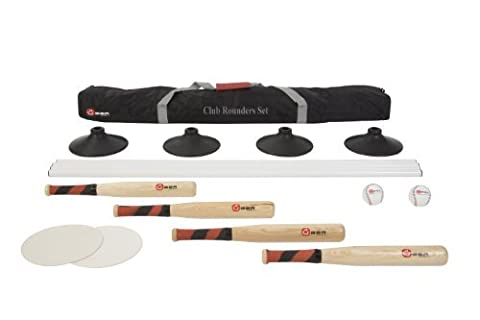 Club Rounders Set - This full Rounders Set comes with equipment for a great quality full game of rounders. This set includes 4 wooden rounders bat with a rubber grip, 2 leather rounders balls, 4 plastic poles, and 2 rubber disc mats. by Uber Games