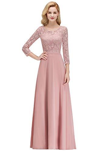 MisShow Damen elegant A Linie Chiffon Lace Abendkleider Lange Kleider mit Langen ärmel Ballkleider Spitzen Kleid Rosa 42 Standesamtkleid Weinrot 42