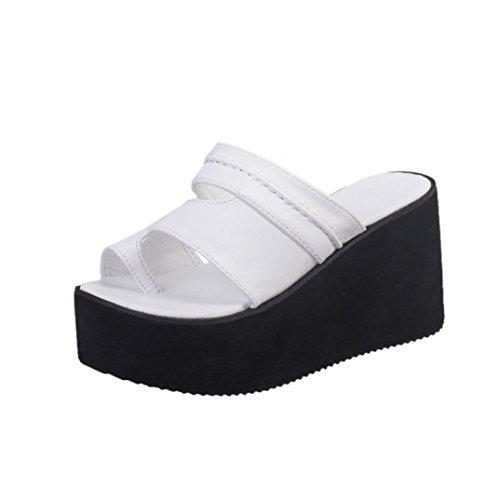 Zapatos Vestir Mujer Flatform Zapatos Naturazy Moda Pío Sólido Punta Gruesa del Pie Sandalias Slipper Zapatos con Plataforma Zapatos Fiesta Sandalias Deportivas Mujer (EU:35, Blanco)