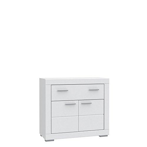 NEWFACE  Kommode, 2 Türen, 1 Schubkasten, Holz, Weiß matt, 95.7 x 41.7 x 86.5 cm -
