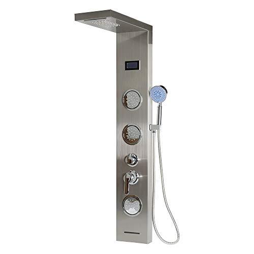 Duschpaneel LED Edelstahl mit Regendusche,Handbrause,Körperdusche,unter dem Wasserhahn,Wasserfall Duschsäule(LCD Bildschirm Edelstahl)