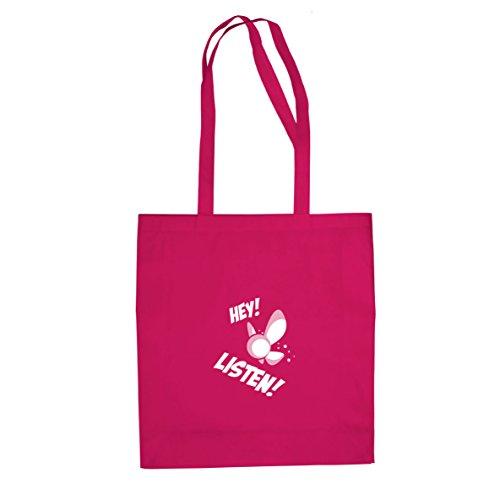 Hey Listen - Stofftasche / Beutel, Farbe: pink