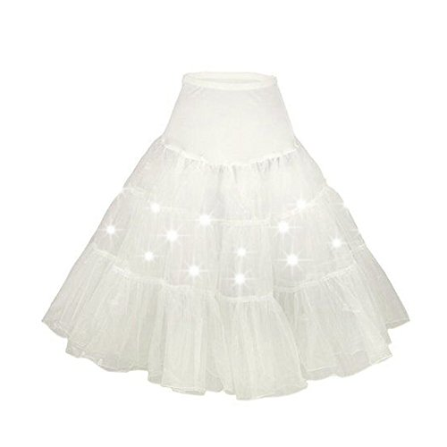 DULEE Damen Weihnachten Halloween Party eine Linie LED Partei Kurze Ballettröckchen Rock Vintage Petticoat Rock Party Tanzkleid,Weiß L