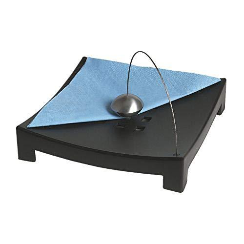 Portatovaglioli nero, dimensioni lunghezza: 22cm larghezza: 22cm altezza: 5cm base, materiale: polipropilene plastica filo: sfera in acciaio inox: alluminio, lacca trasparente